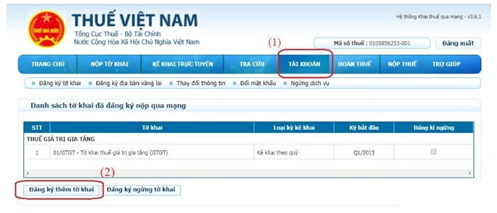 đăng nhập gửi thông báo phát hành hóa đơn điện tử