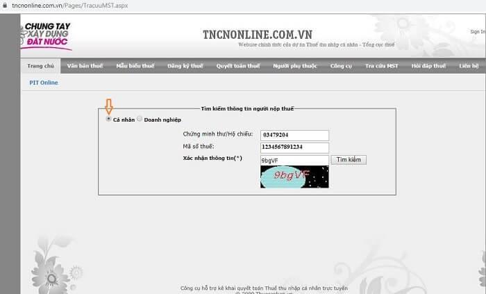 tra cứu mã số thuế cá nhân tncnonline.com.vn