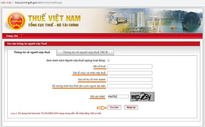 tra cứu mã số thuế doanh nghiệp tcnnt.gdt.gov.vn