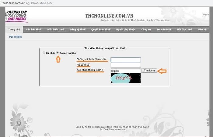 tra cứu mst tcdn online