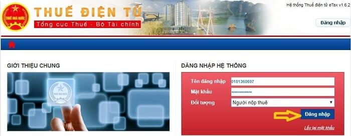 đăng nhập website thuedientu