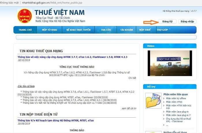 Truy cập nhantokhai.gdt.gov.vn